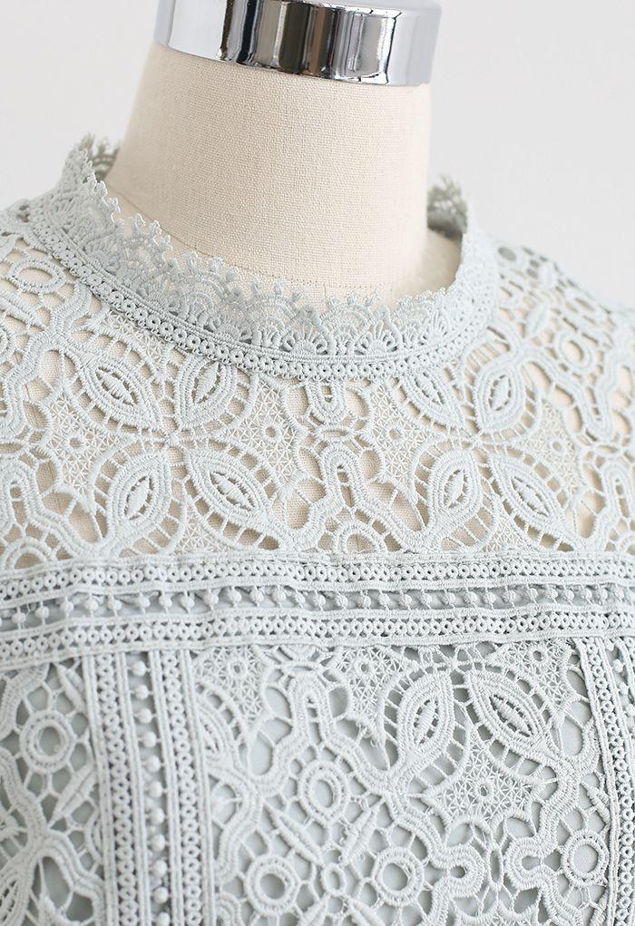 3D Flower Full Crochet Crop Top in Pea Green