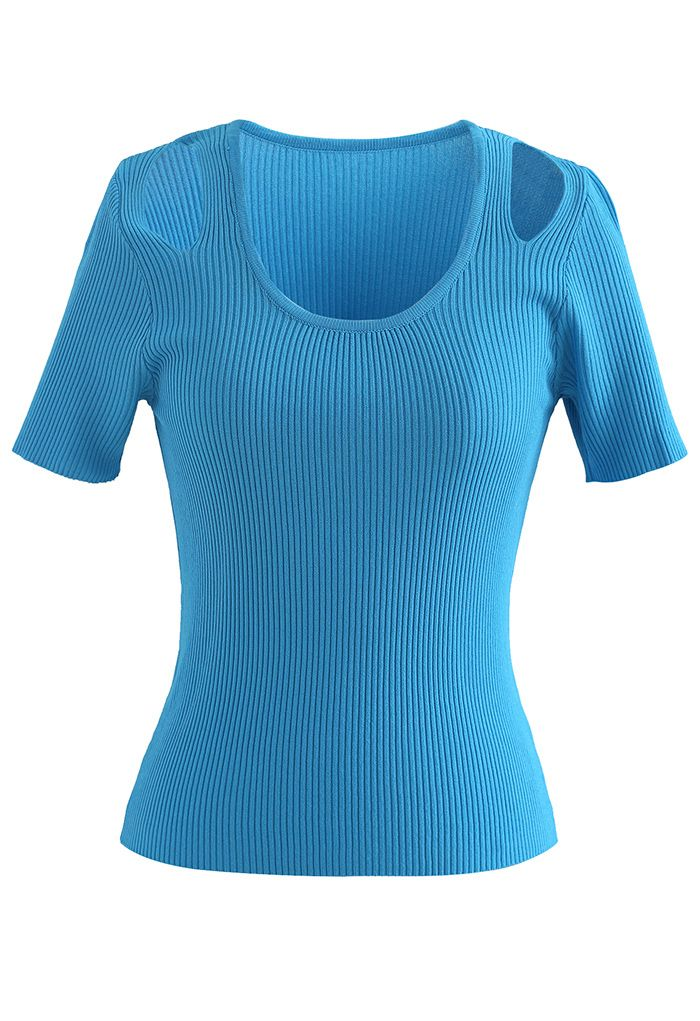 Cut Out Shoulder Ribbed Knit Top in Cyan