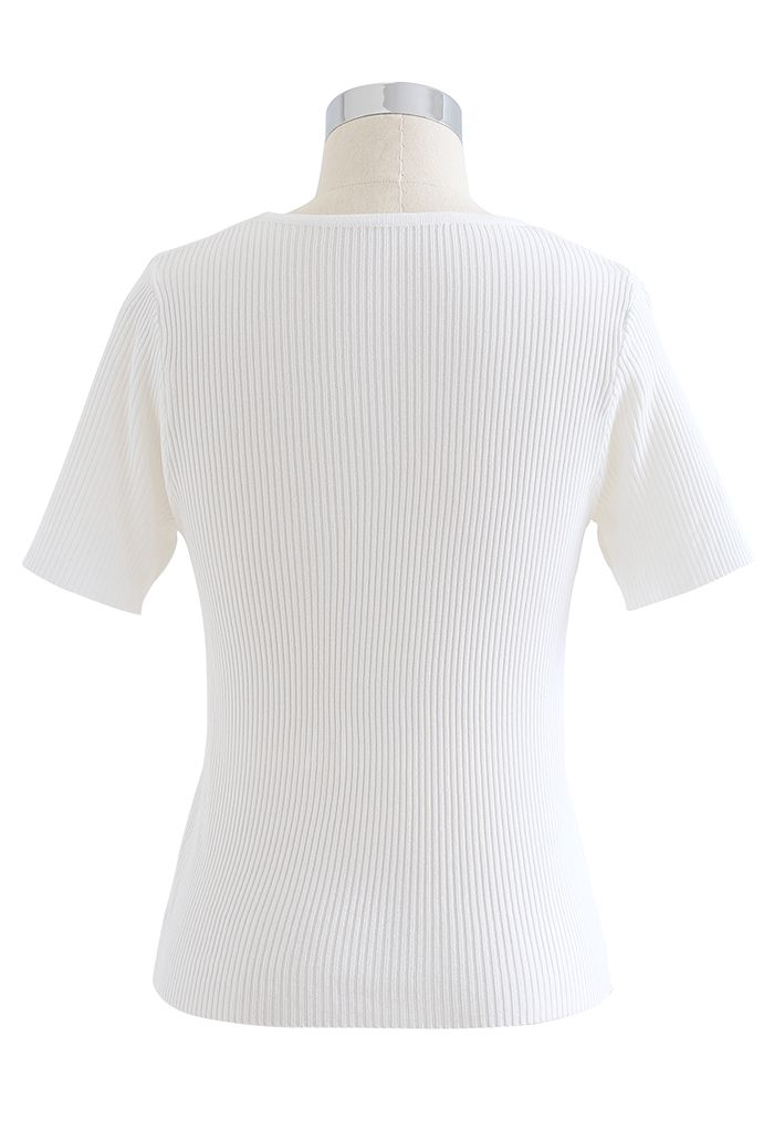 Cut Out Shoulder Ribbed Knit Top in White