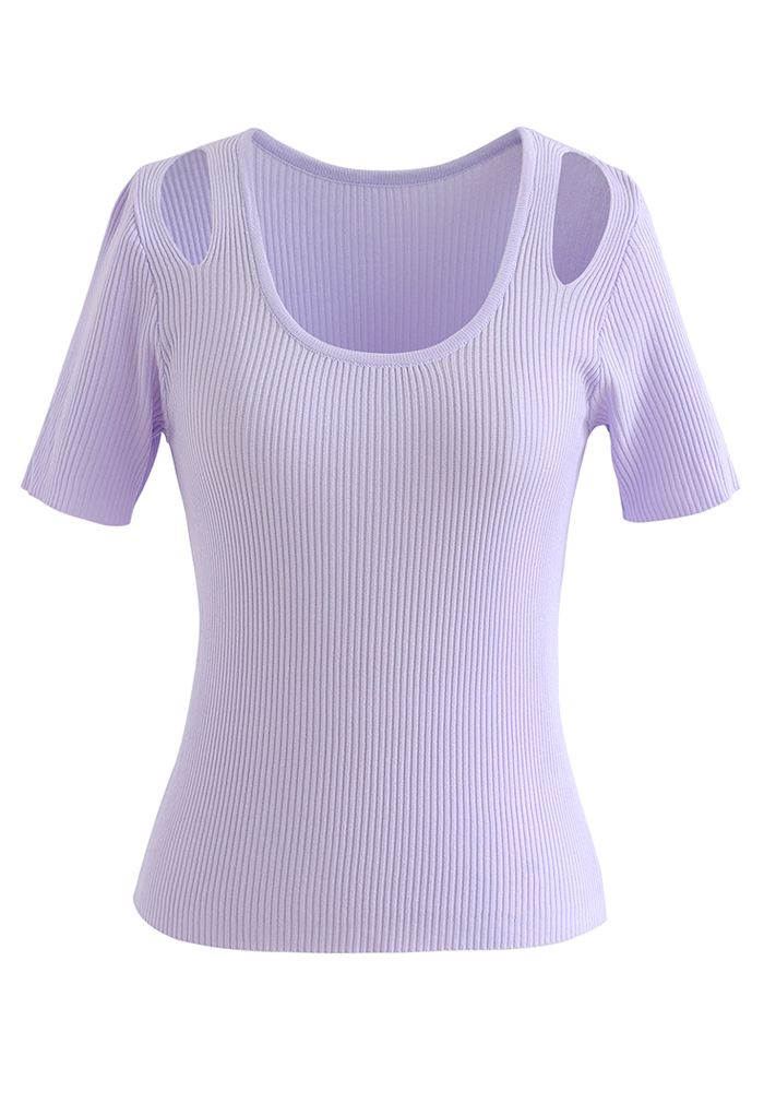 Cut Out Shoulder Ribbed Knit Top in Lilac