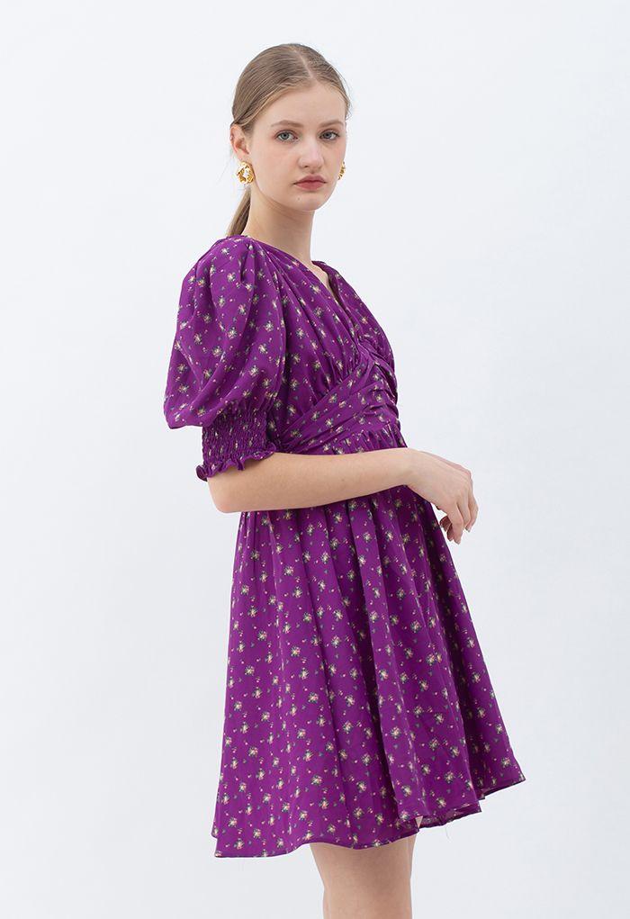 Pad Shoulder Floral V-Neck Puff Sleeve Dress in Purple
