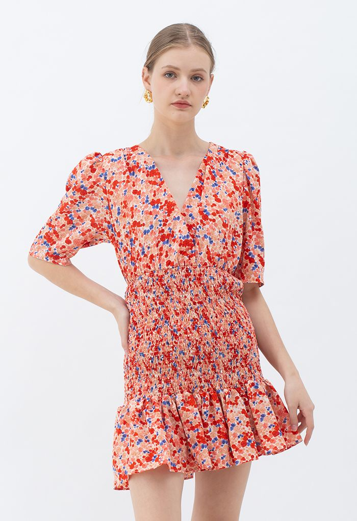 Ditsy Rose Wrap Shirred Ruffle Mini Dress in Red