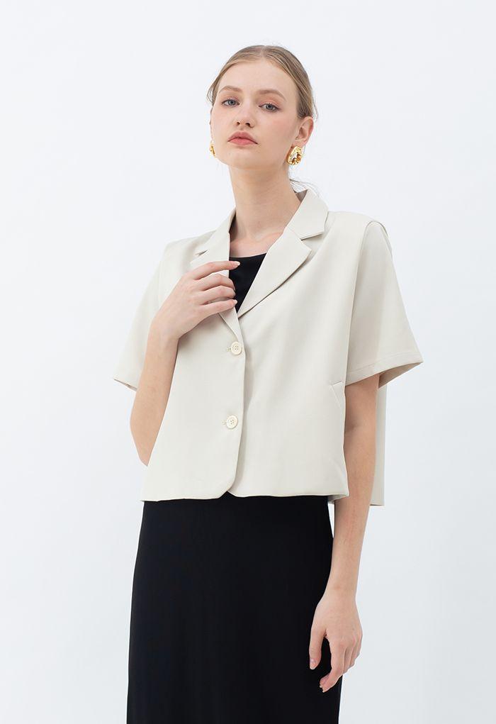 Short Sleeve Padded Shoulder Crop Blazer in Pea Green