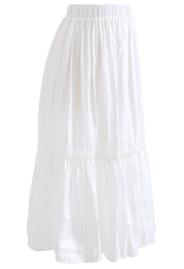 Shimmer Satin Pearly Midi Skirt in White