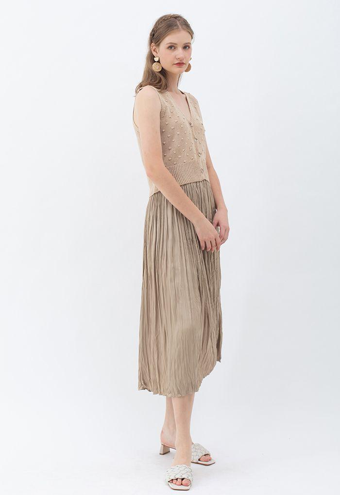 Natural Simplicity Full Pleated Midi Skirt in Tan