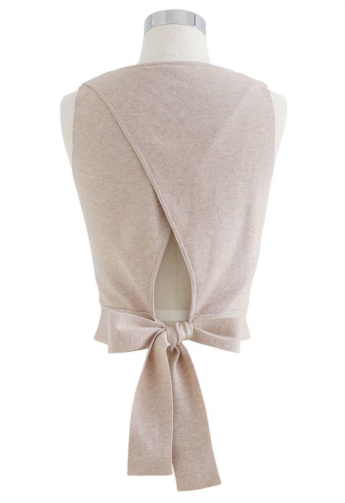 Haut court en tricot sans manches avec nœud papillon en lin