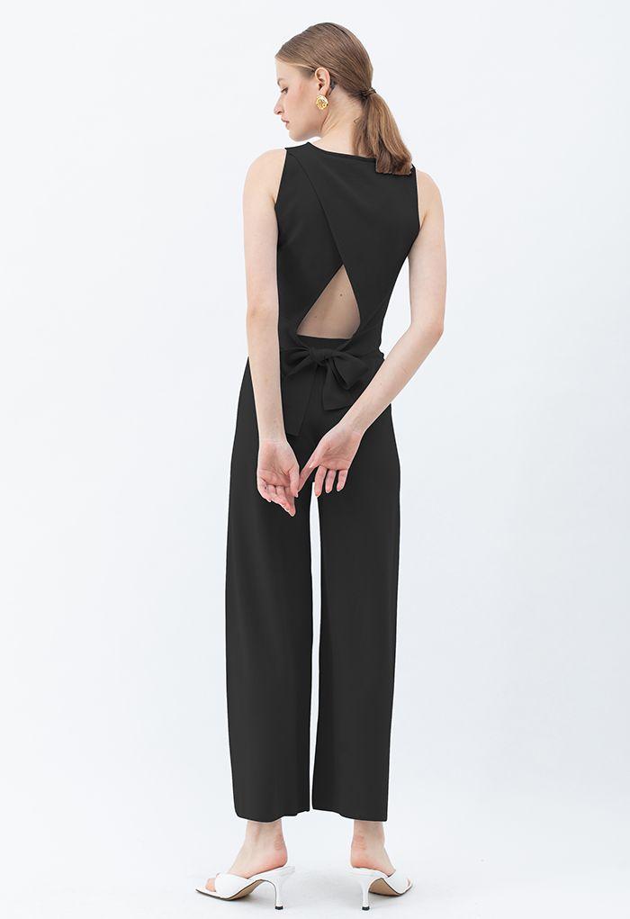 Pantalon en tricot neutre à jambe large en noir