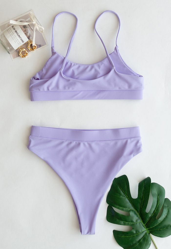 Ensemble de bikini à sequins colorés en lilas