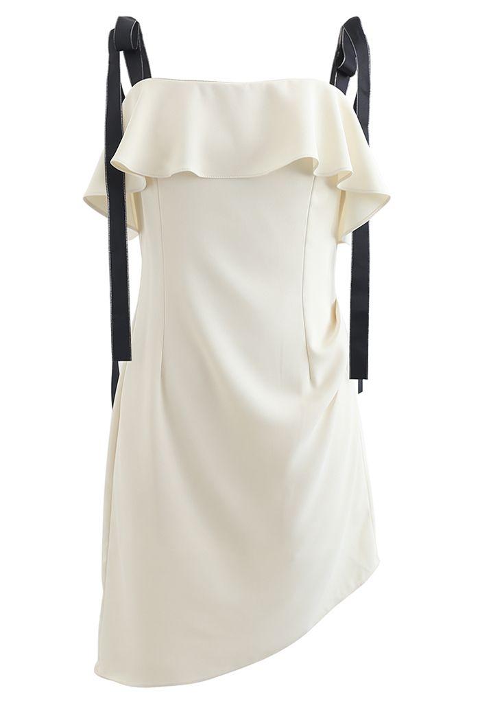 Mini-robe froncée à volants nouée aux épaules en jaune clair
