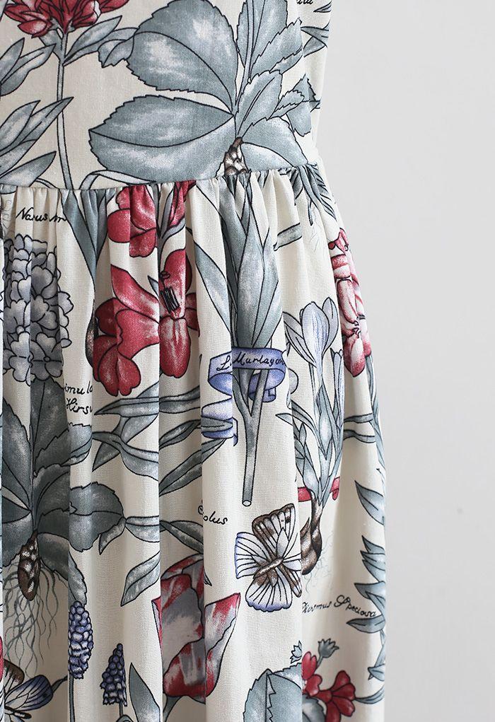 Robe en lin mélangé à imprimé narcisse naturel