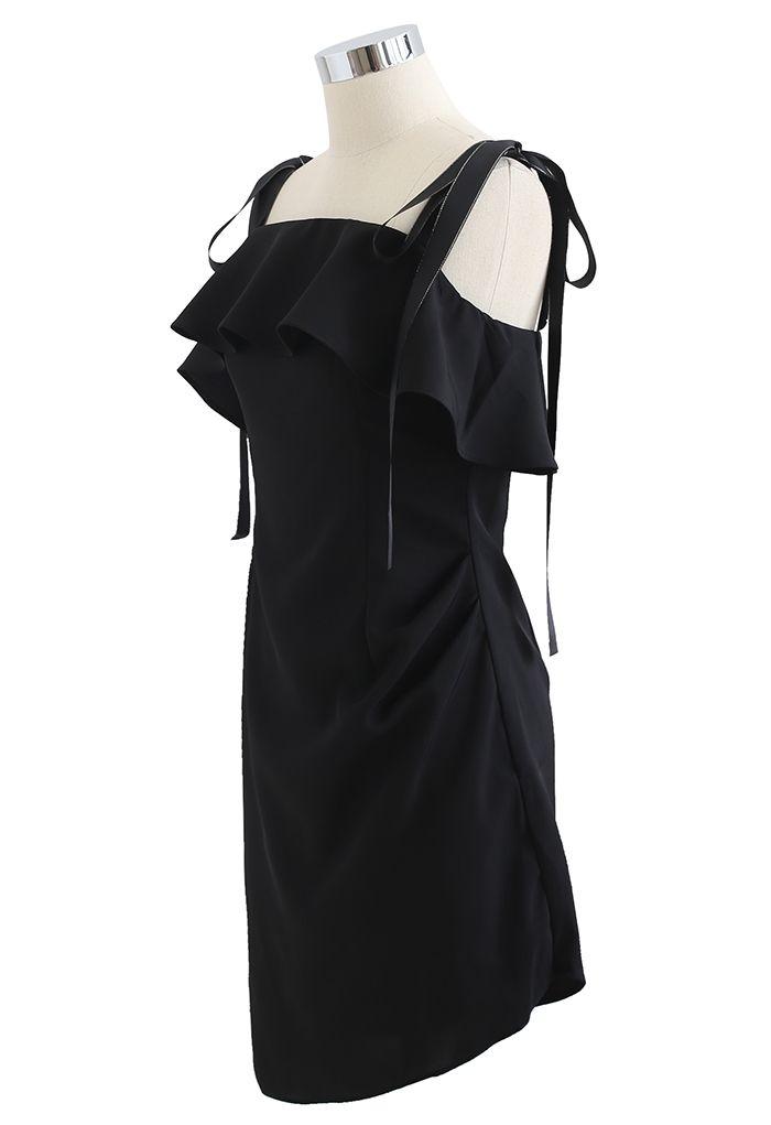 Mini-robe froncée à volants nouée aux épaules en noir