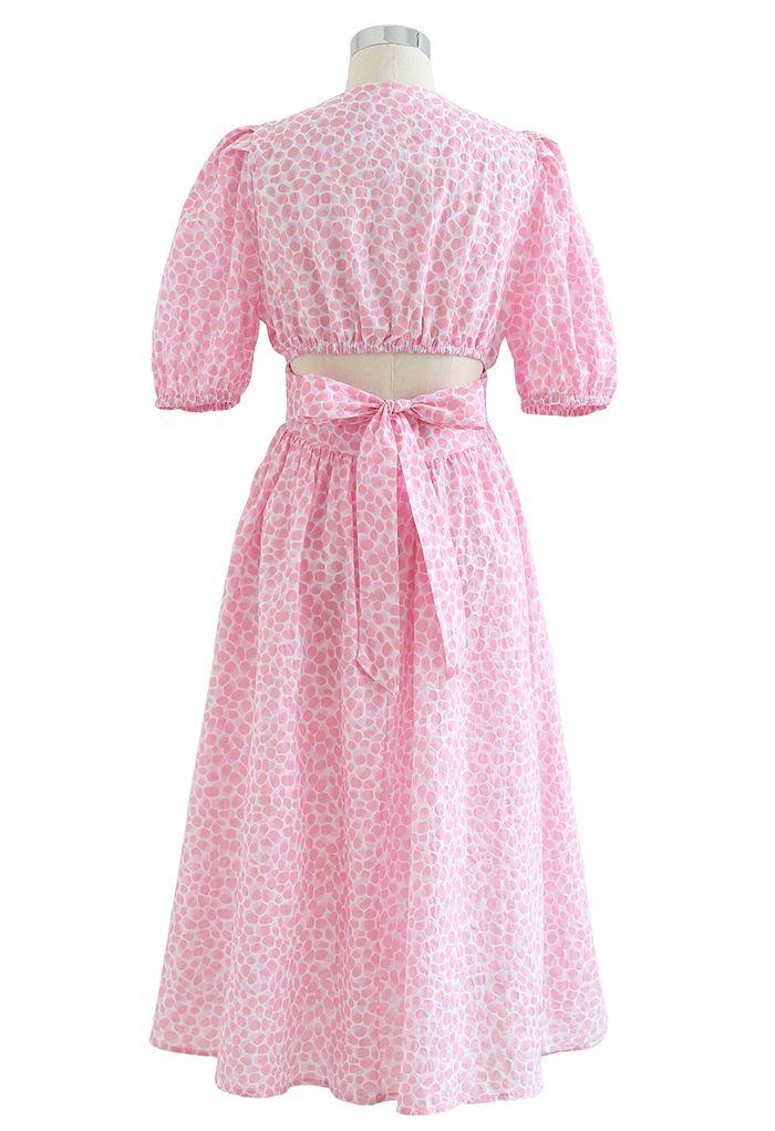 Robe mi-longue nouée à imprimé bulle en rose