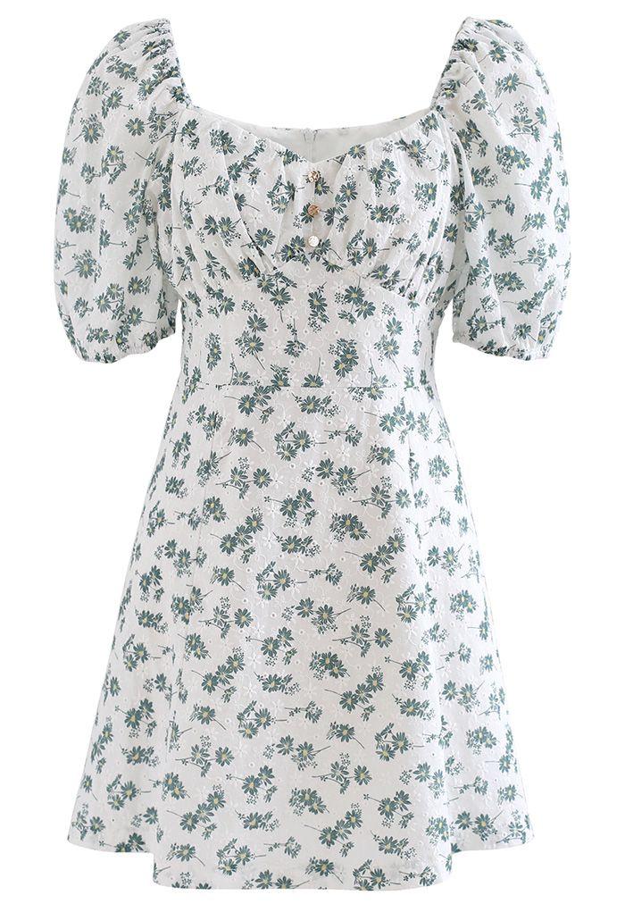 Mini-robe fleurie à col en cœur et œillets en vert