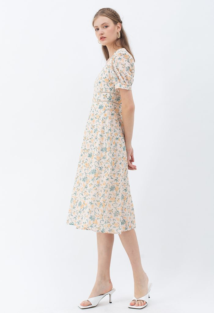 Sweetheart Neck Floral Broderie Anglaise Midi Dress