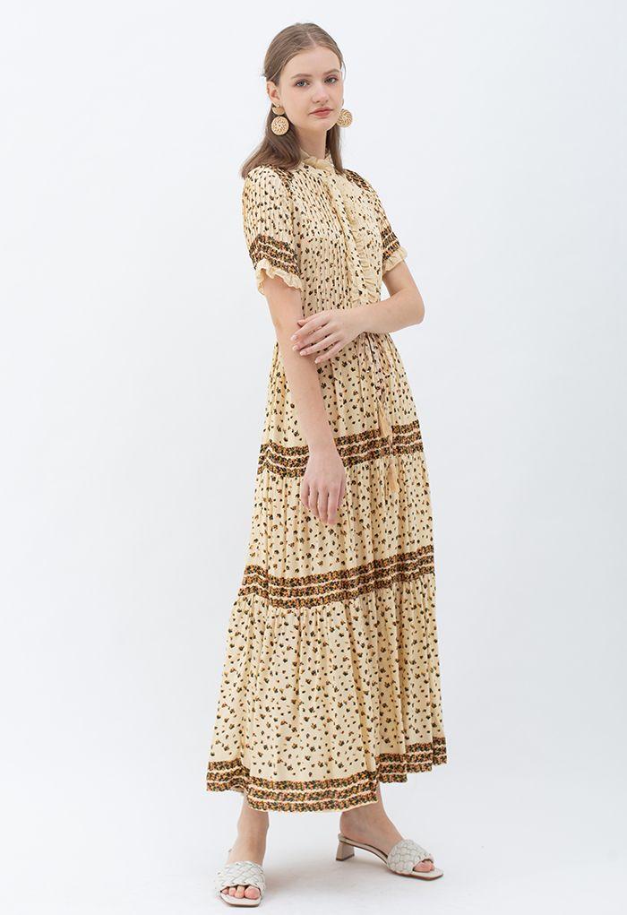 Robe longue boutonnée à imprimé fleuri bohème