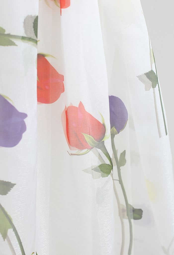 Jupe midi plissée en organza imprimé Rose Impression