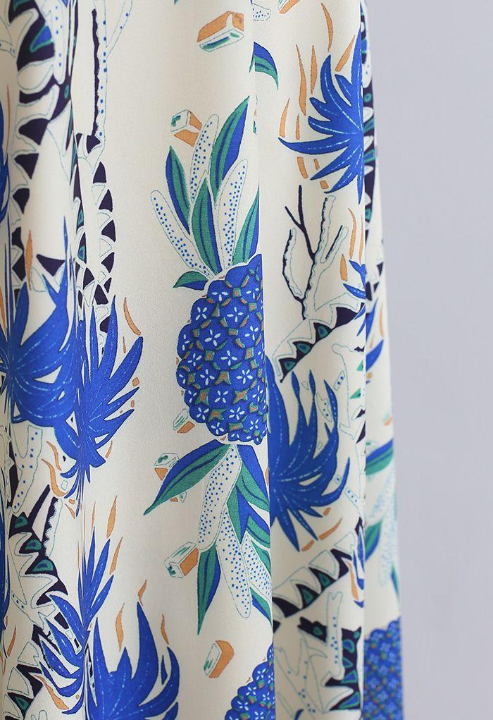 Jupe longue trapèze ananas tropical