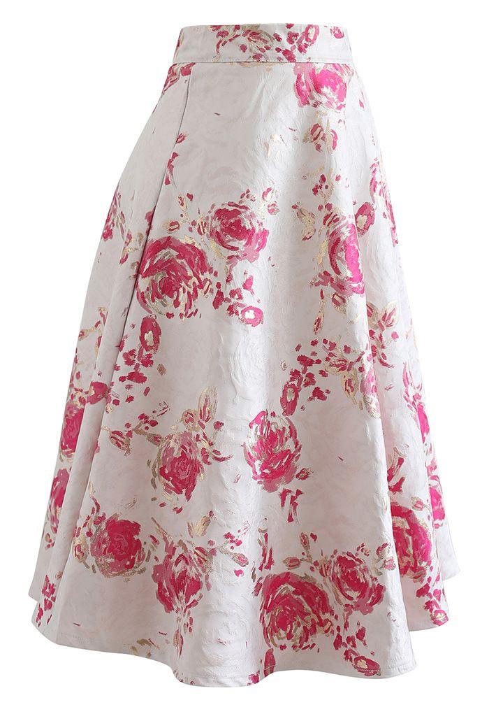 Jupe mi-longue en jacquard rose rougeâtre
