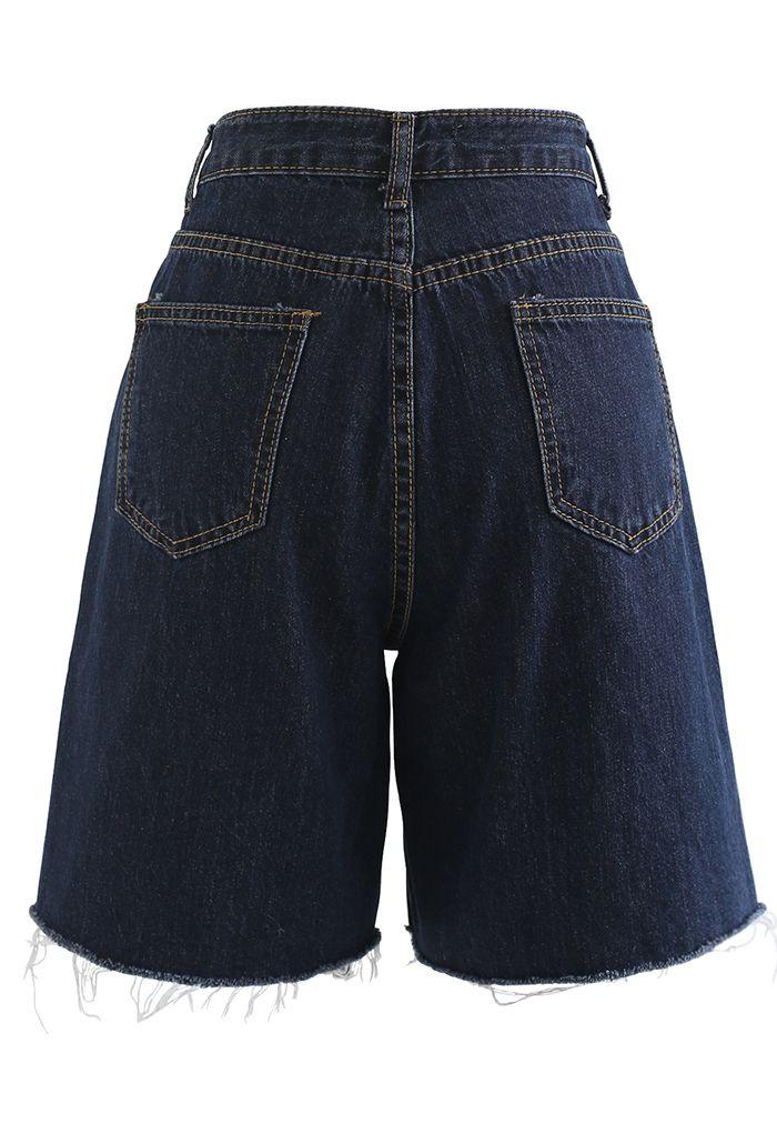 Short en jean décontracté à ourlet brut en bleu marine