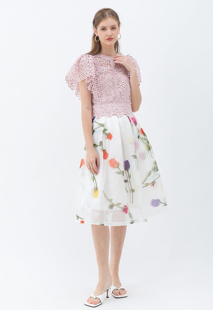 Crop top à manches volantées en crochet en rose poudré