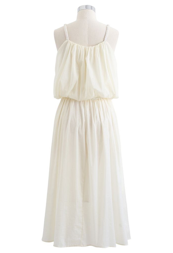 Ensemble camisole courte et jupe mi-longue aux couleurs pastel en jaune