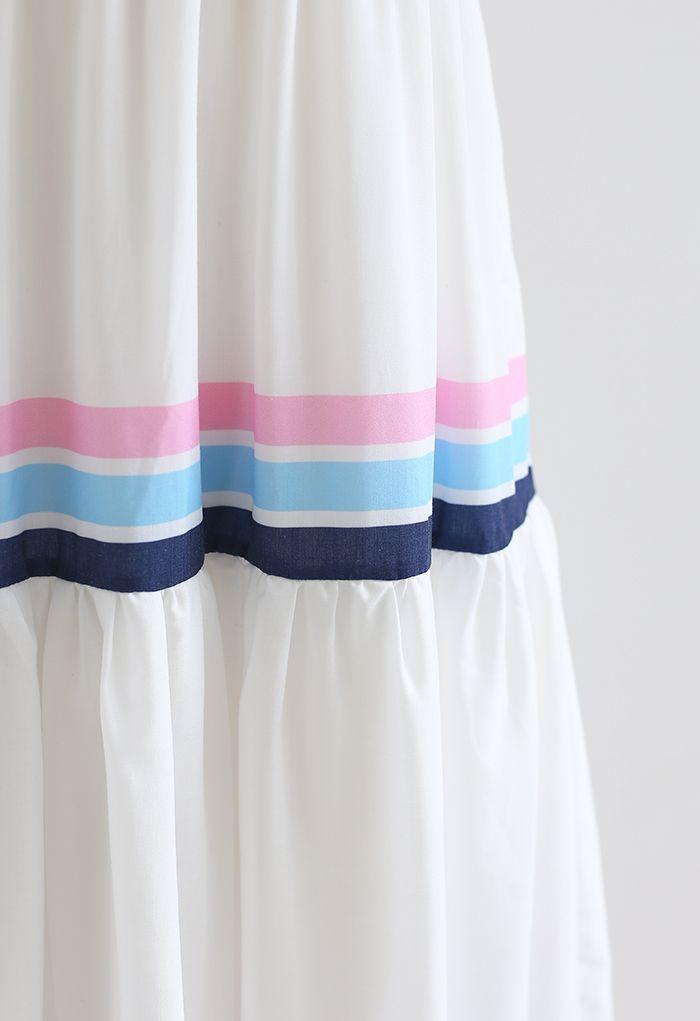 Robe longue imprimée à rayures multicolores et à bretelles
