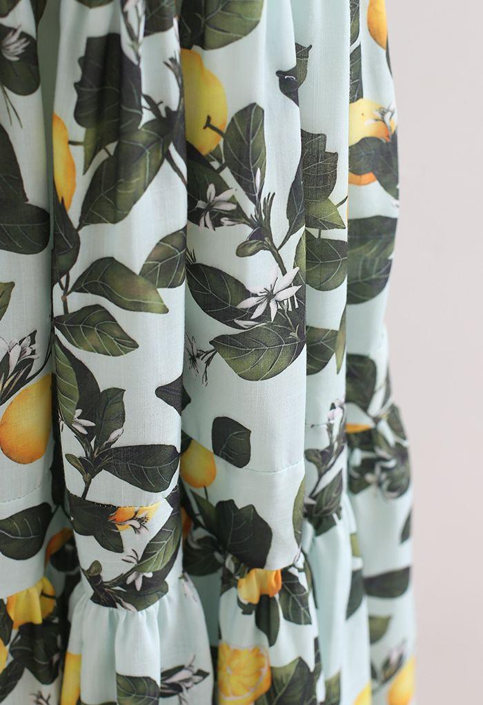 Robe longue à bretelles nouées et imprimé citron menthe