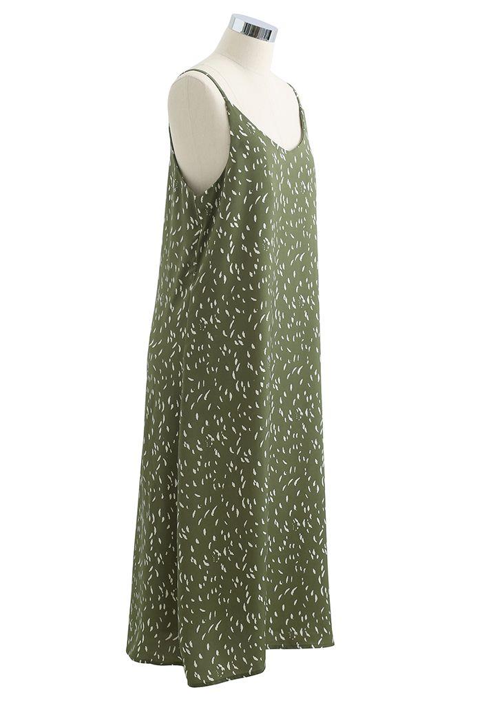 Robe camisole à col en V et à pois en vert