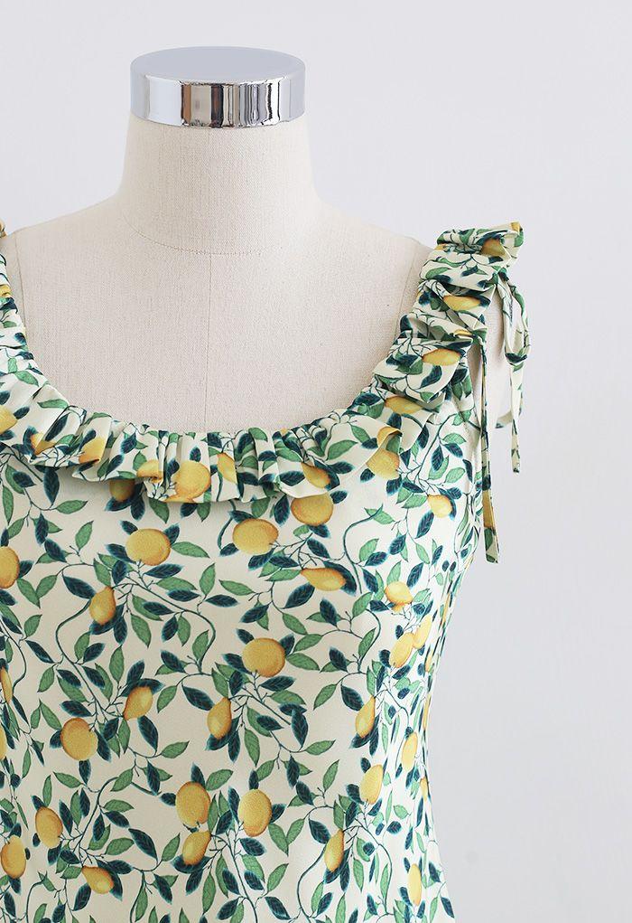 Robe camisole à col à volants Tropical Fruit en vert
