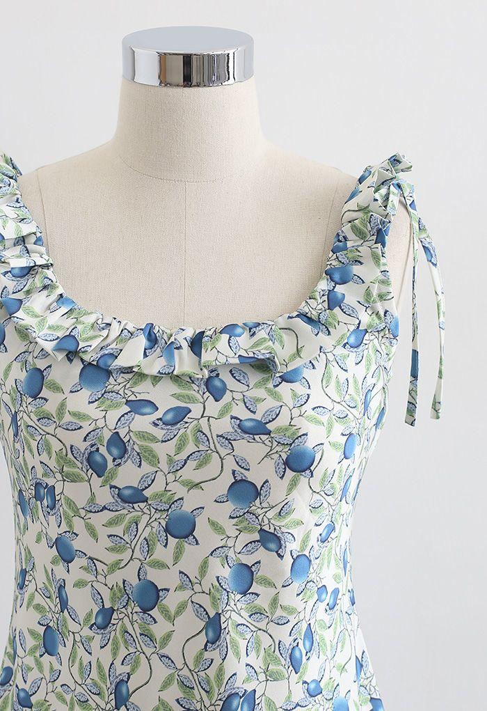 Robe camisole à col volanté Tropical Fruit en bleu