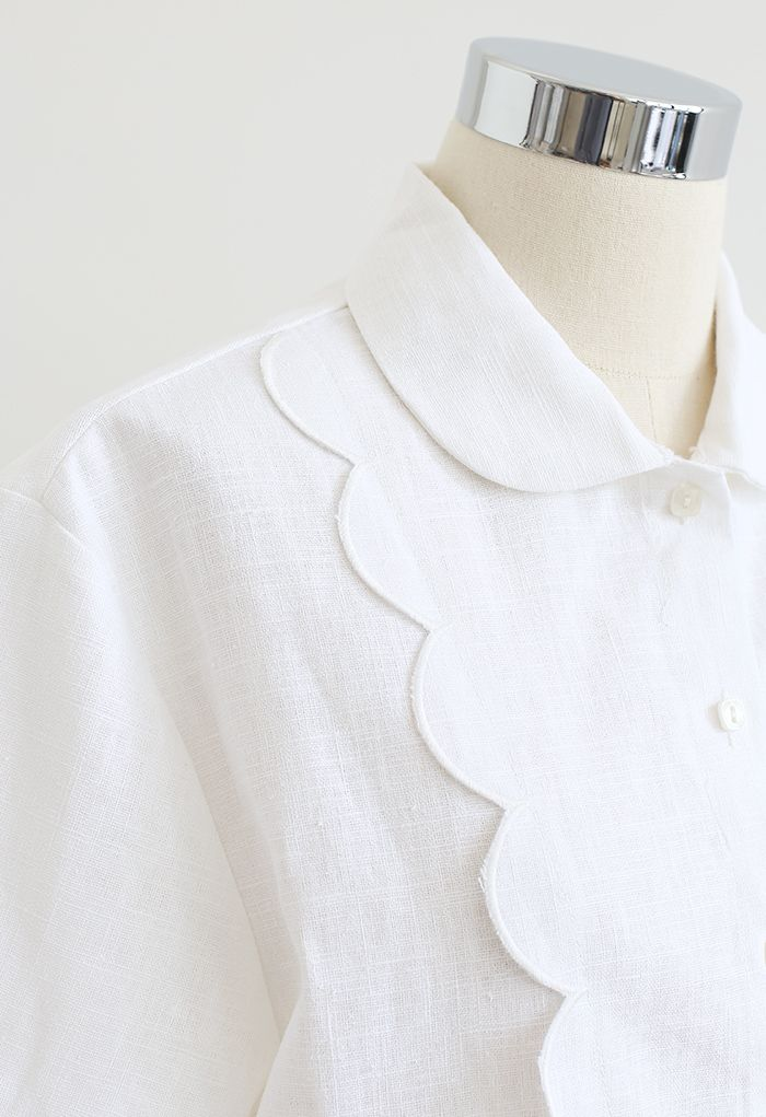 Chemise en lin mélangé à bords brodés festonnés