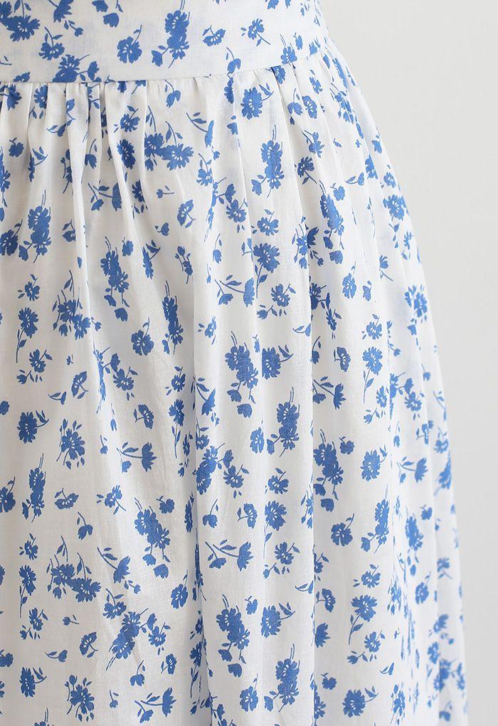 Ensemble crop top froncé et jupe mi-longue Flowery Land en blanc