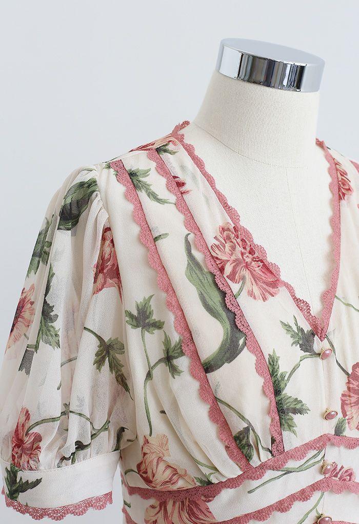 Robe en mousseline à imprimé floral et bord en dentelle