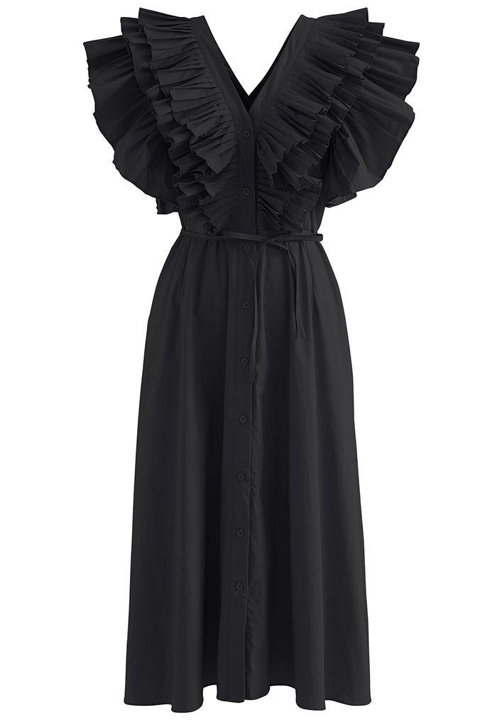 Robe longue plissée boutonnée à col en V et à nouer en noir