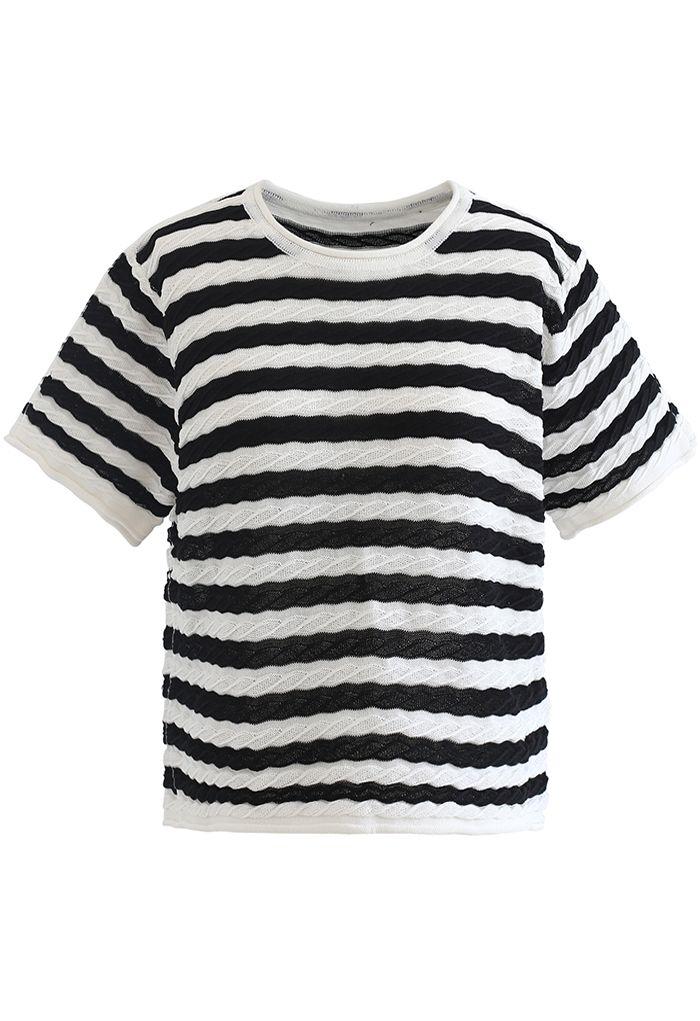 Haut en tricot gaufré à rayures contrastées en noir