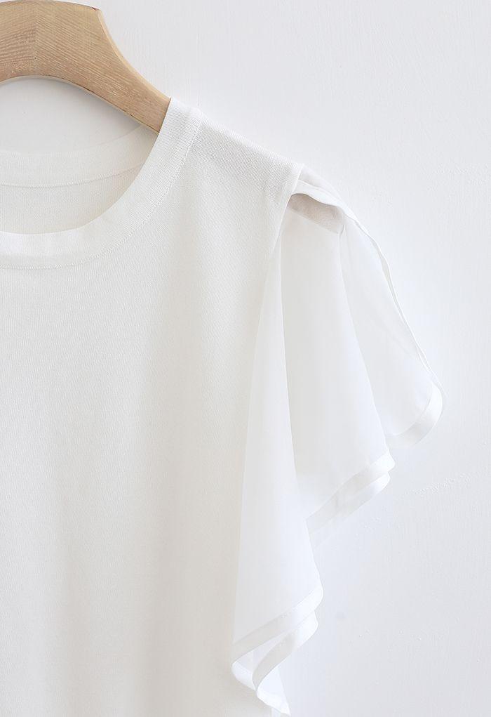 Haut en maille à manches fendues à volants transparents en blanc