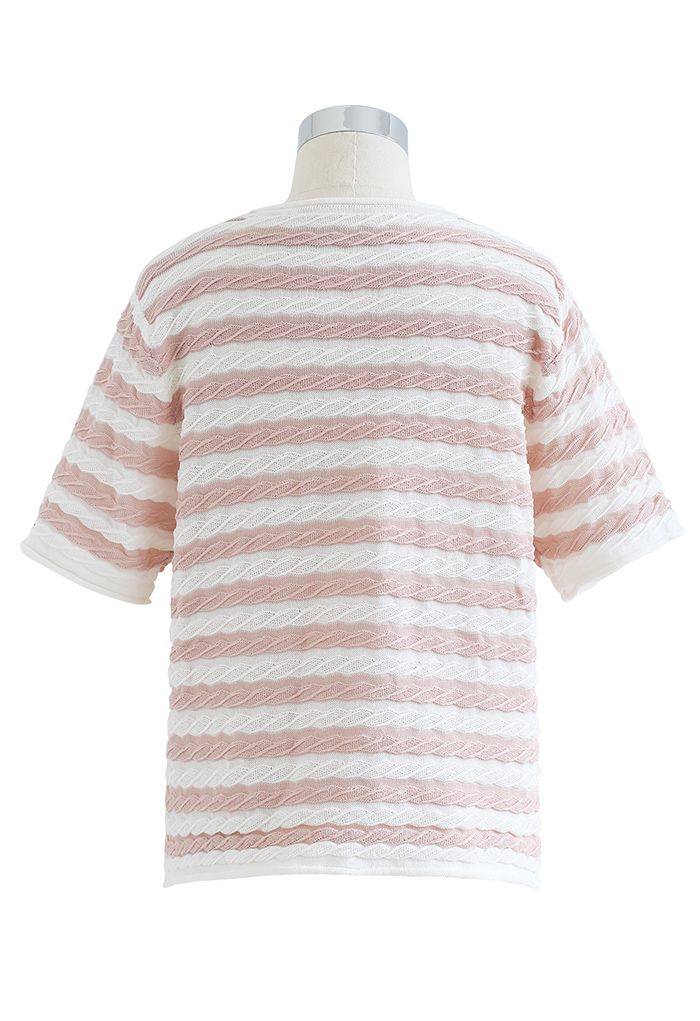 Haut en tricot gaufré à rayures contrastées en pêche