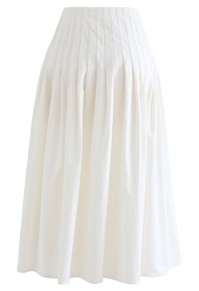 Jupe mi-longue en coton à taille plissée en blanc