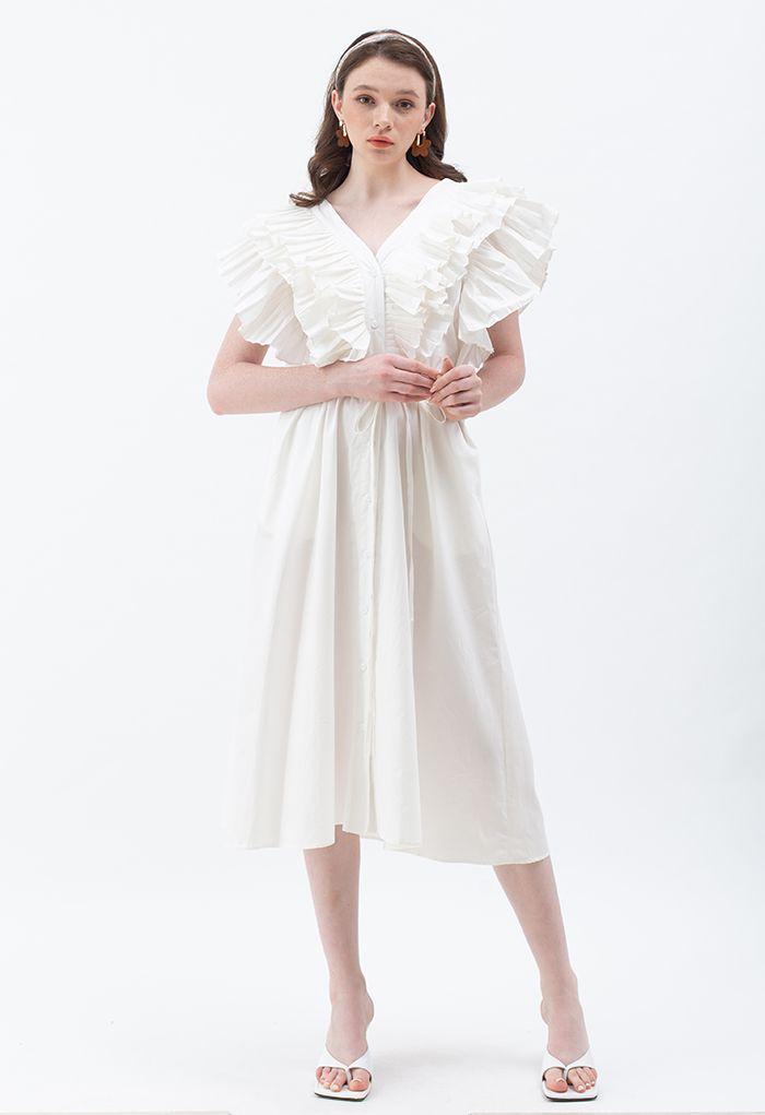 Robe longue plissée boutonnée à col en V et à nouer en blanc