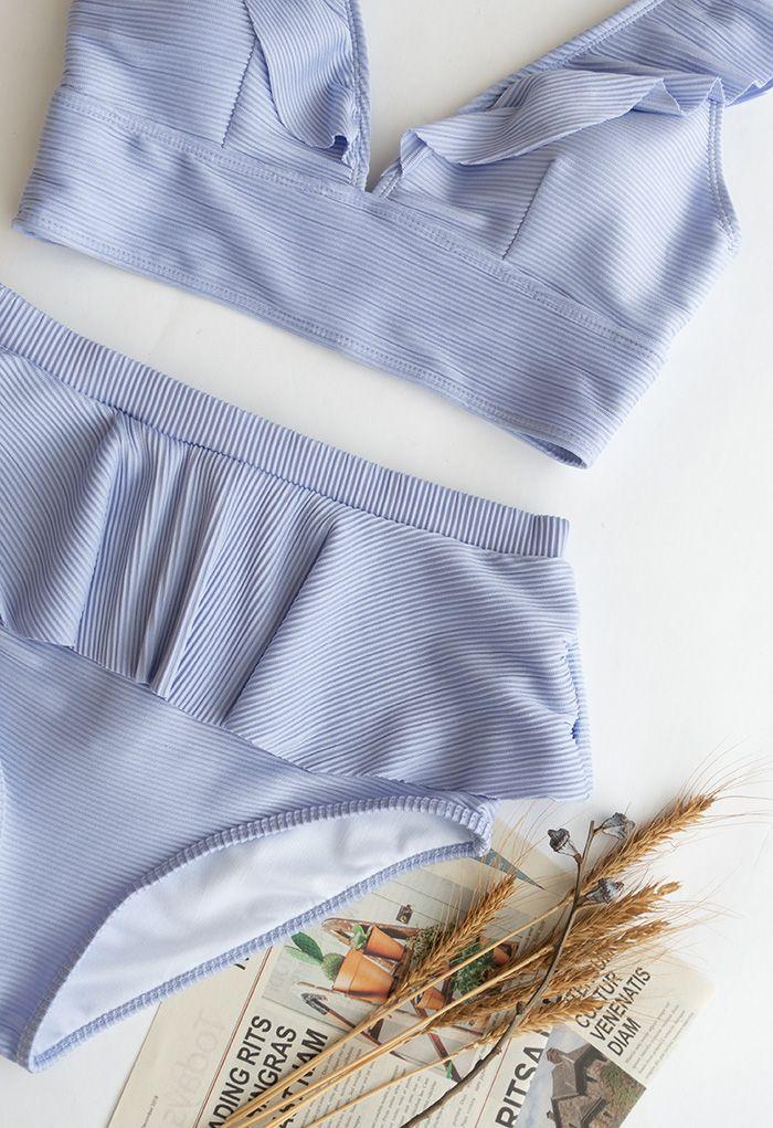 Ensemble de bikini à volants avec fermeture éclair au dos en lilas