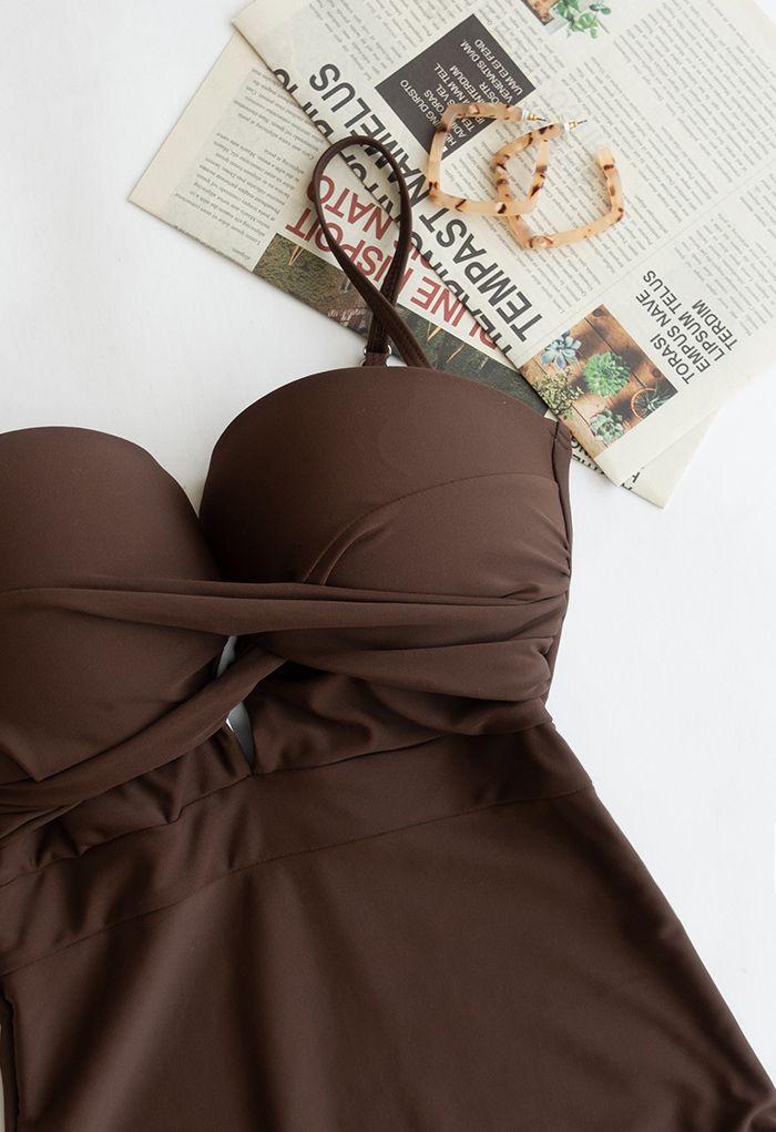 Maillot de bain camisole croisé sur le devant en marron