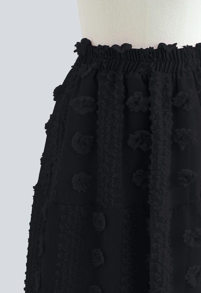Cotton Flower Frill Hem Mesh Skirt in Black