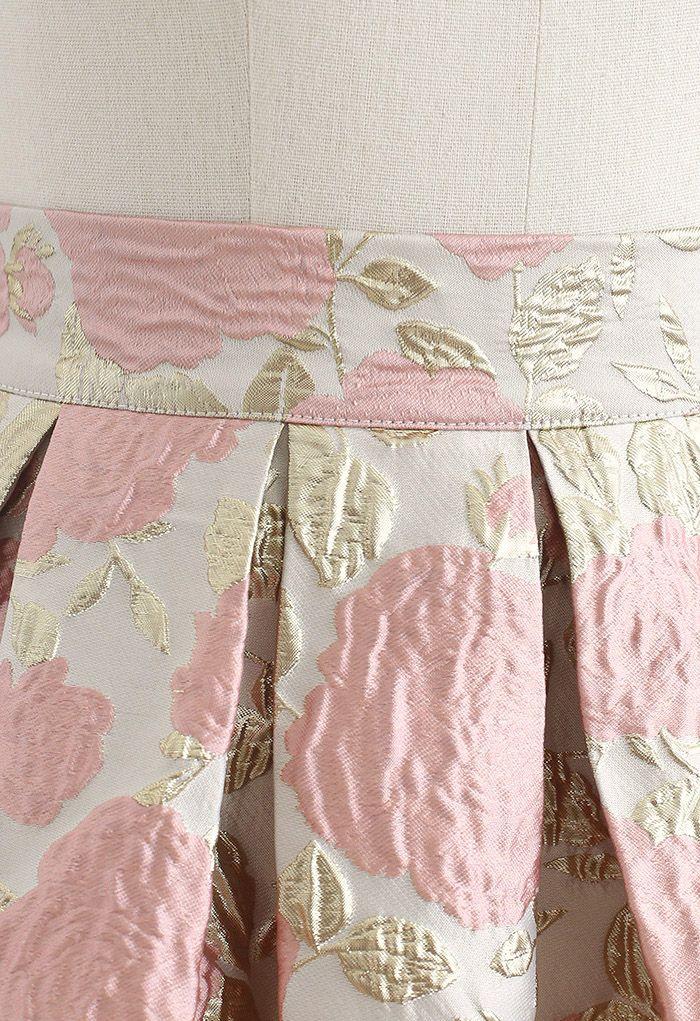 Charming Rose Jacquard Embossed Pleated Skirt