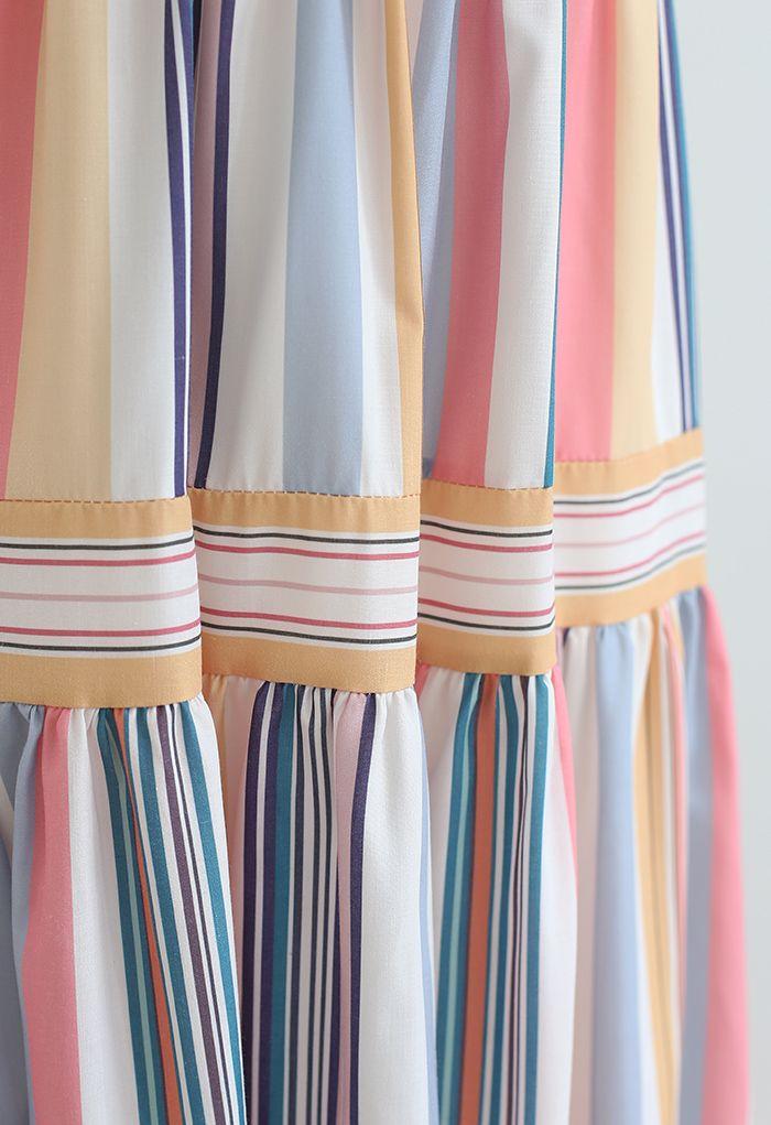 Color Block Stripe Tie-Strap Maxi Dress