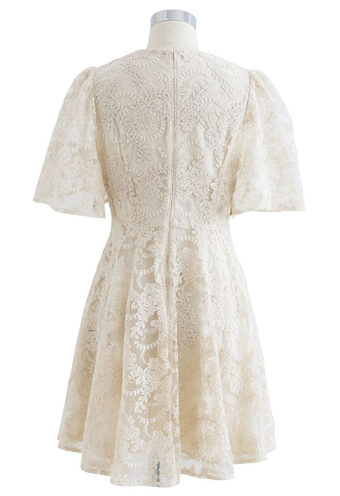 Delicate Floral Embroidered Flare Sleeve Mesh Dress