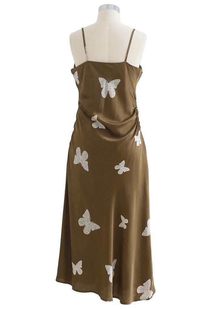 Butterfly Print Sleek Satin Cami Dress in Olive