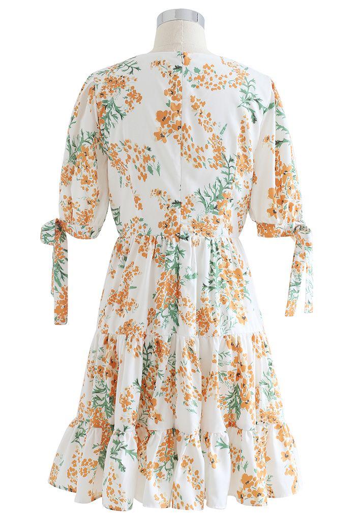 Spicate Flower Printed Ruffle Mini Dress