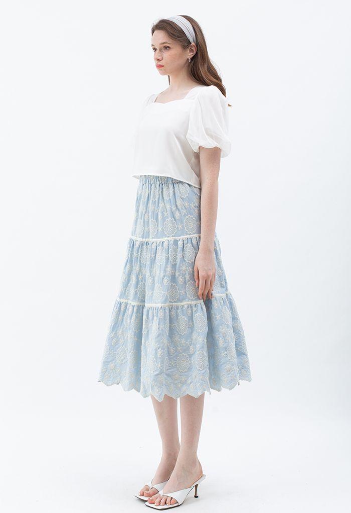 Embroidered Flower Scalloped Skirt in Light Blue