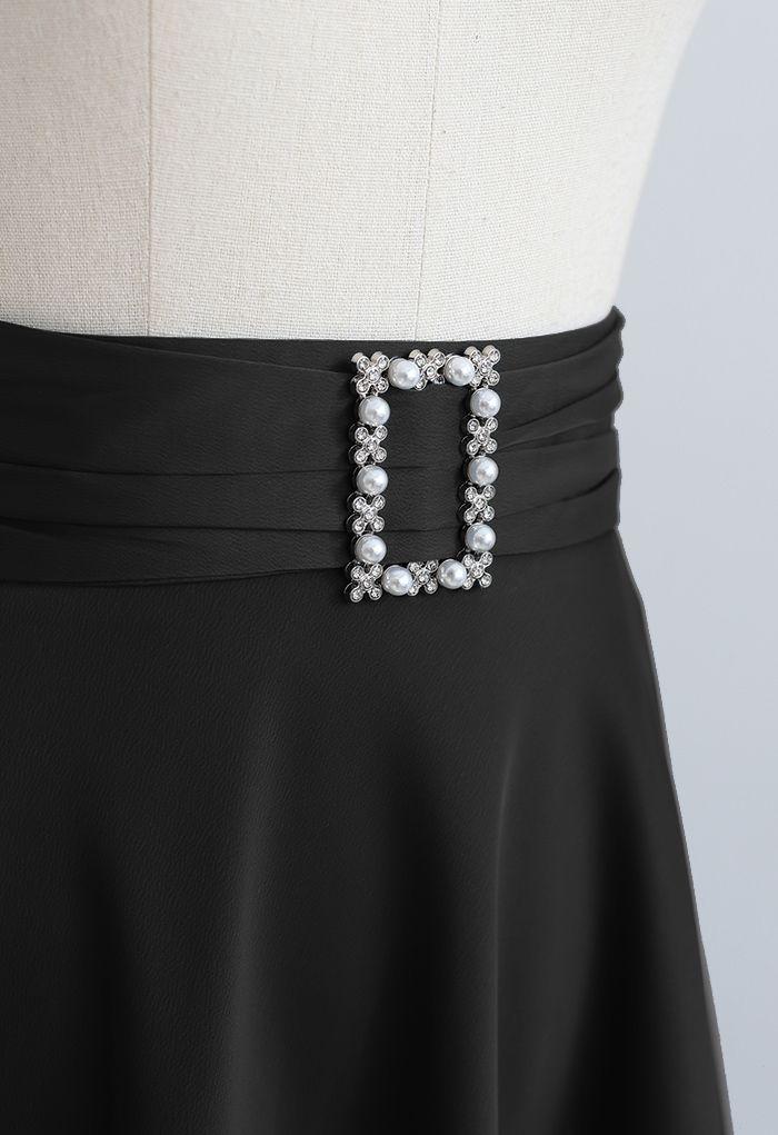 Brooch Detail Satin A-line Midi Skirt in Black
