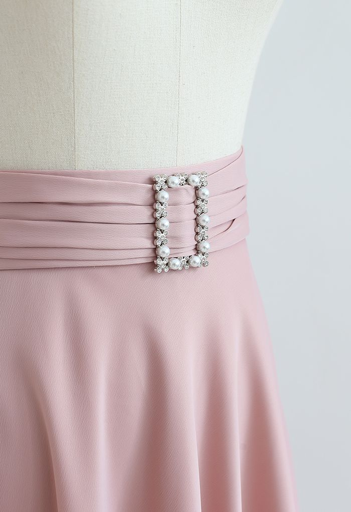 Brooch Detail Satin A-line Midi Skirt in Pink